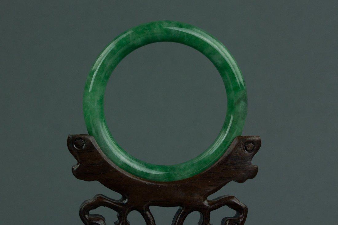 Chinese Grade A Green Jadeite Bangle w Certificate - 4