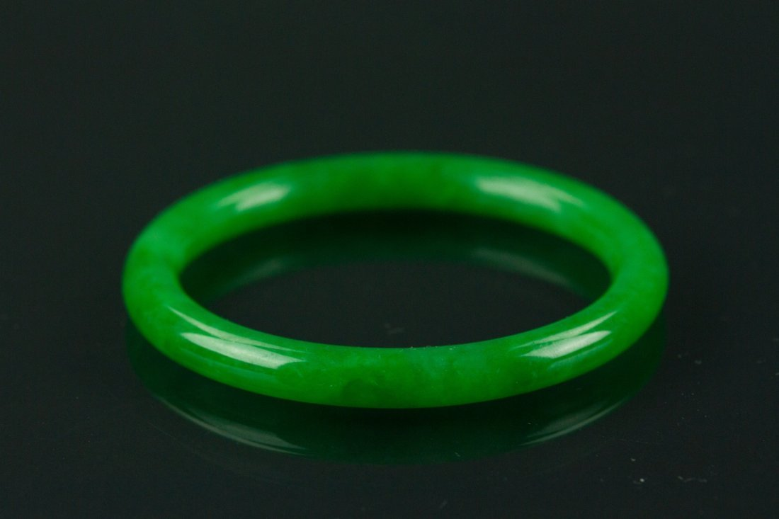 Certified Grade A Natural Green Jadeite Bangle