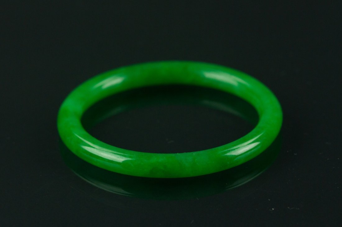 Certified Grade A Natural Green Jadeite Bangle - 2
