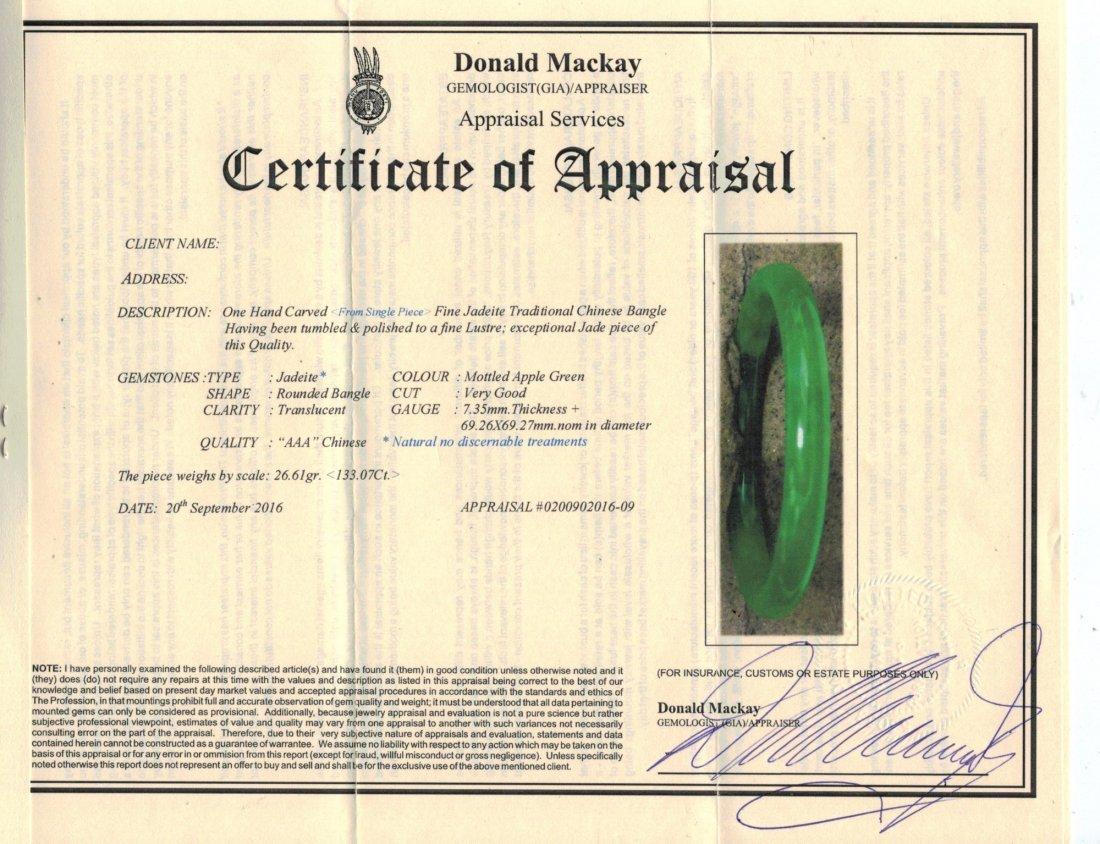 Certified Grade A Natural Green Jadeite Bangle - 6
