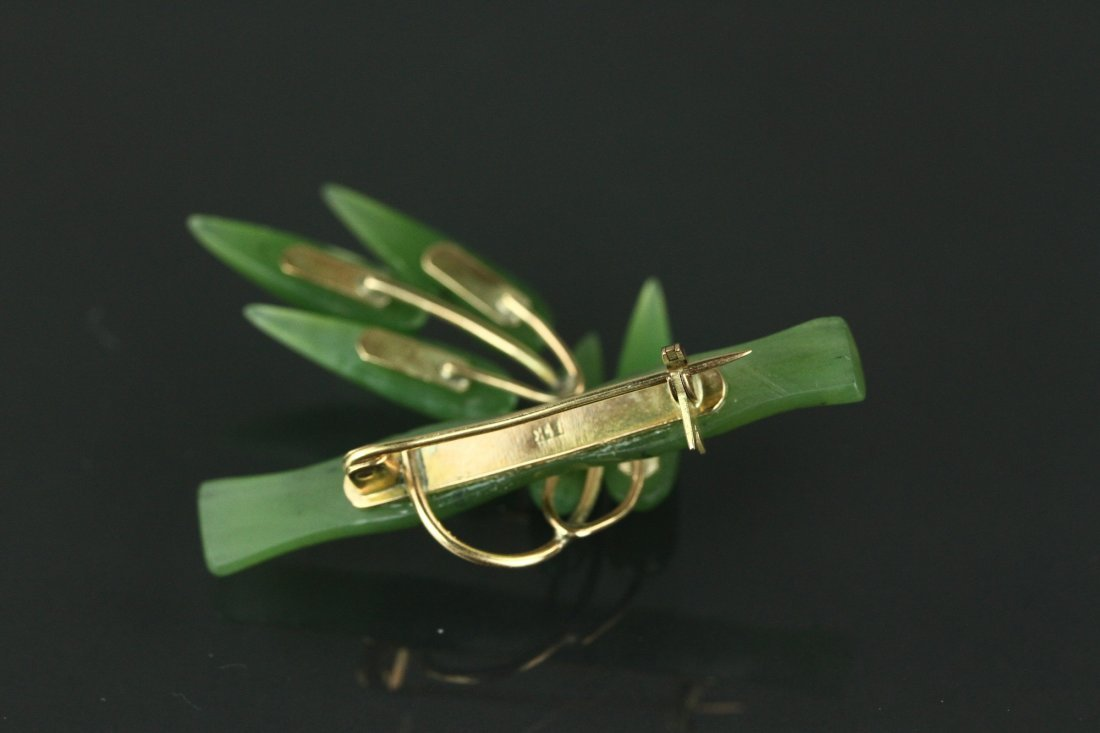 Chinese Green Jade Bamboo Brooch 14K Mark - 2