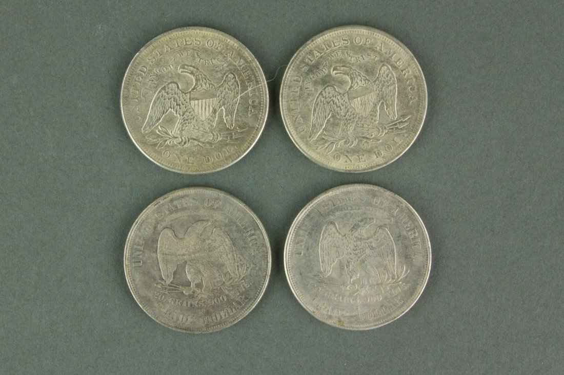 Four Pieces of American Trade Dollar Coins