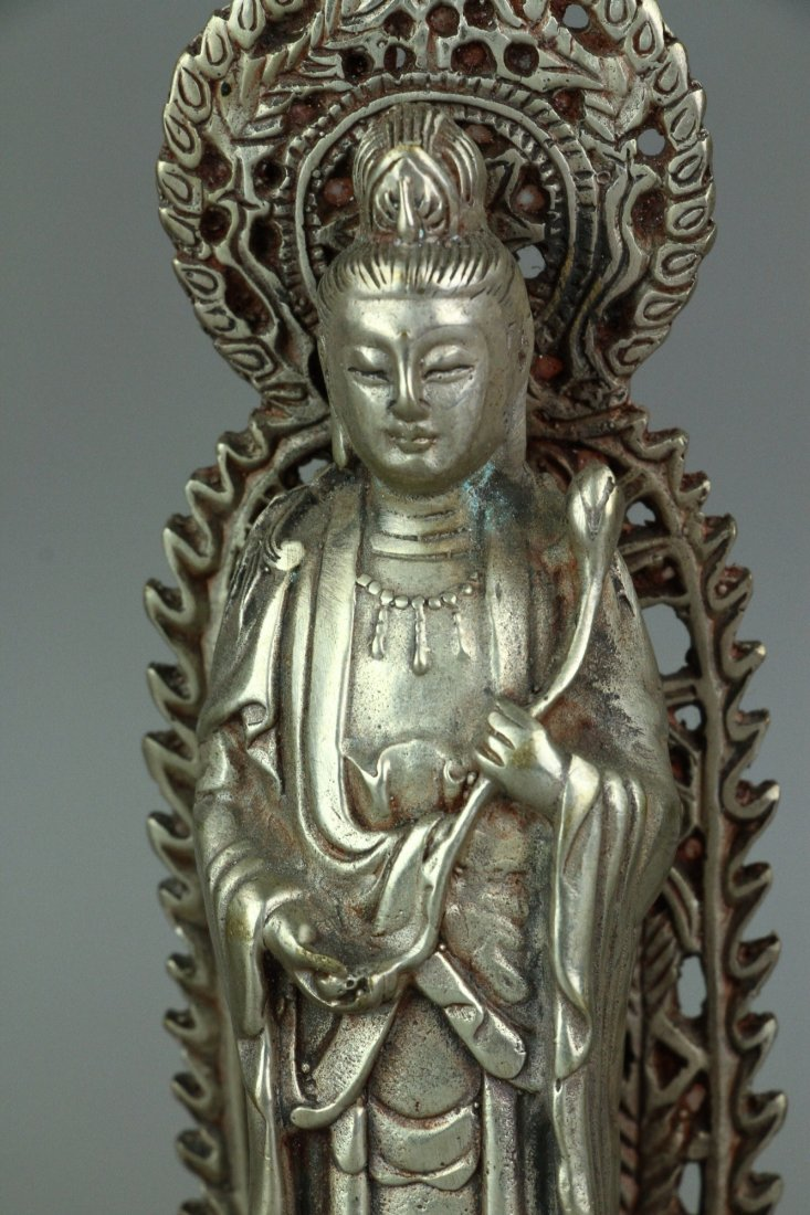Set of Three Chinese Silver Guanyin Figures - 4