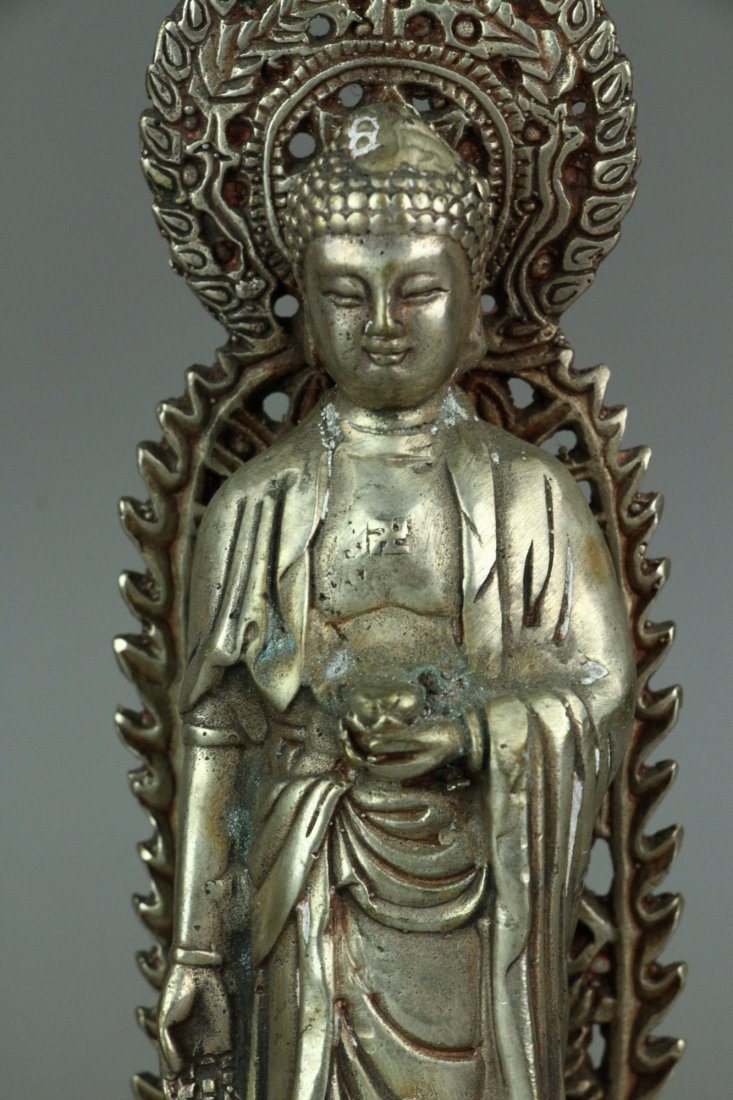Set of Three Chinese Silver Guanyin Figures - 5