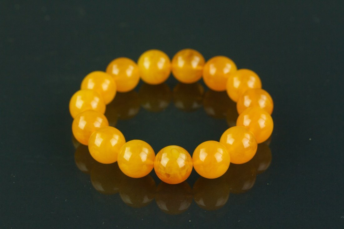 Chinese Yellow Amber Bracelet - 2
