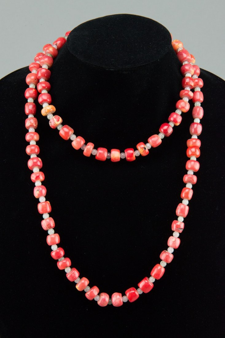 Chinese Coral and Jade Bead Necklace