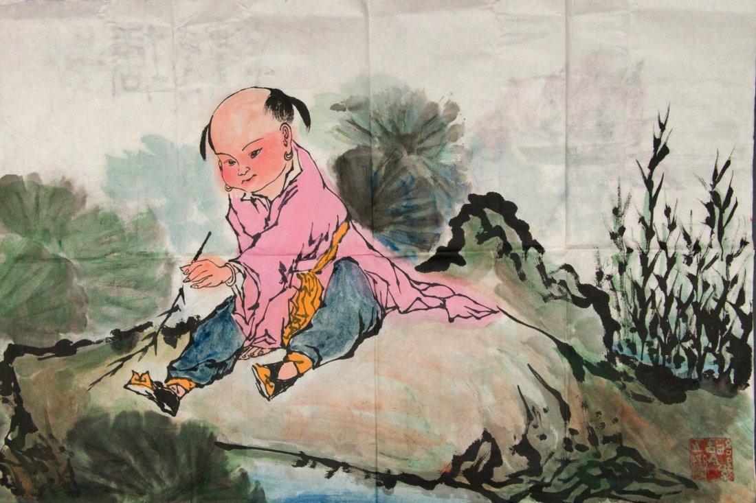 Chinese WC Lotus & Child Style of Fan Zeng b. 1938 - 4