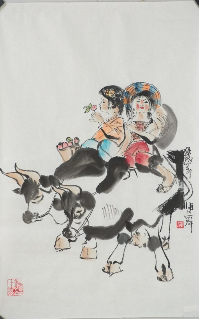 Chinese Girls & Cows Painting Style of Cheng Shifa
