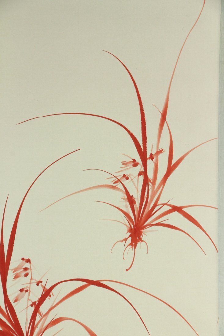 Chinese Watercolour Plant Scroll Painting Signed - 4