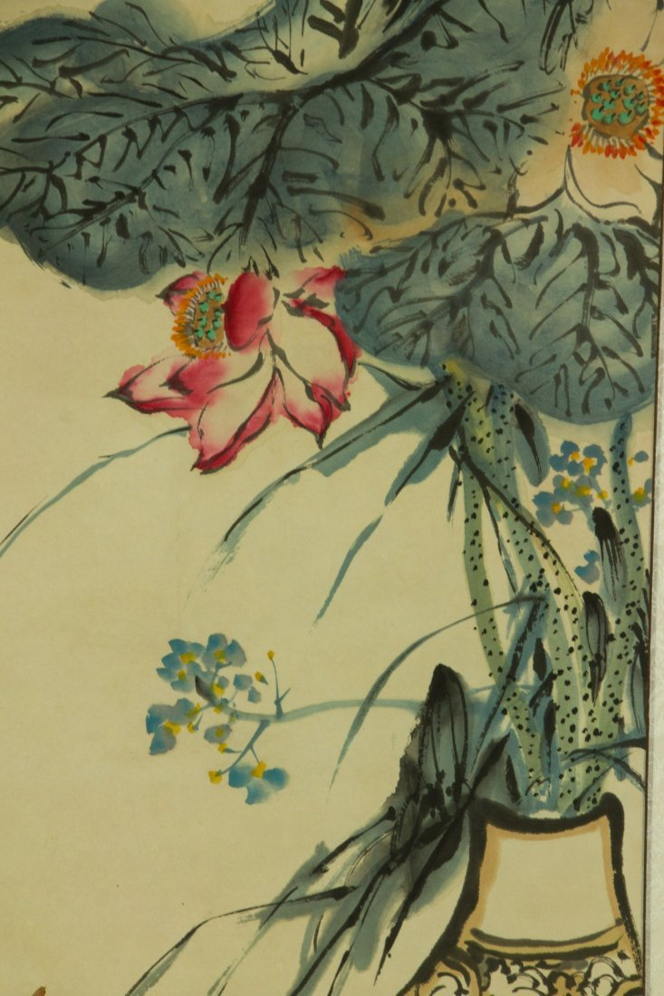 Zhu Qizhan 1892-1996 Watercolour on Paper Scroll - 2
