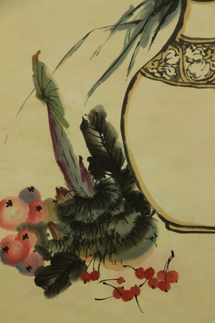 Zhu Qizhan 1892-1996 Watercolour on Paper Scroll - 3