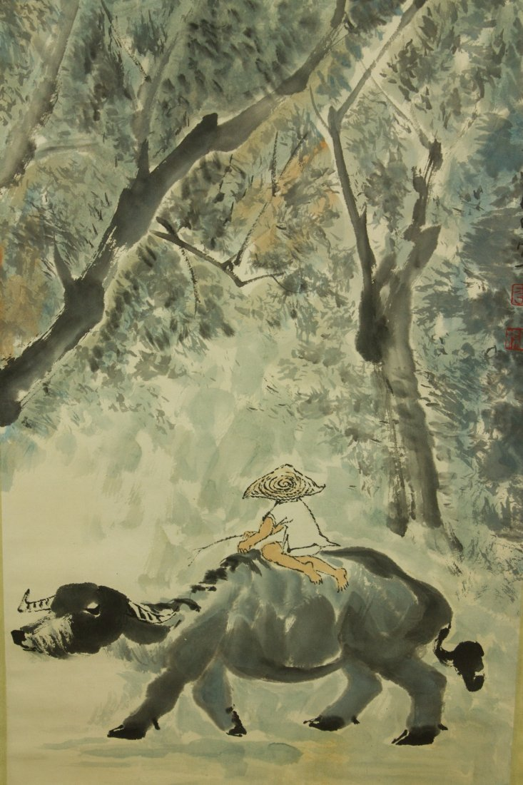 Li Keran 1907-1989 Watercolour on Paper Scroll - 3