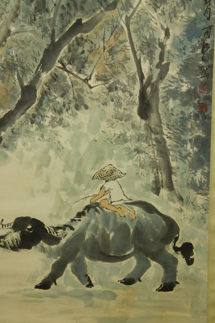 Li Keran 1907-1989 Watercolour on Paper Scroll - 5