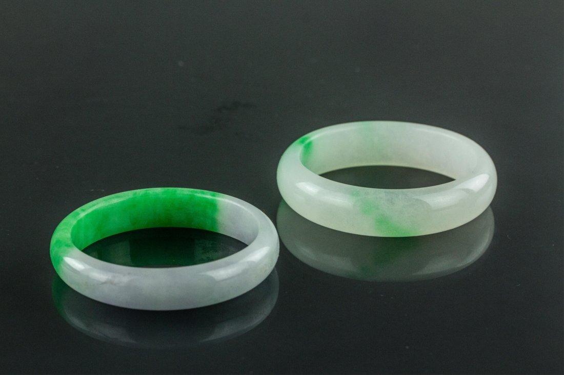 Chinese Hard Stone Green Bangle - 2