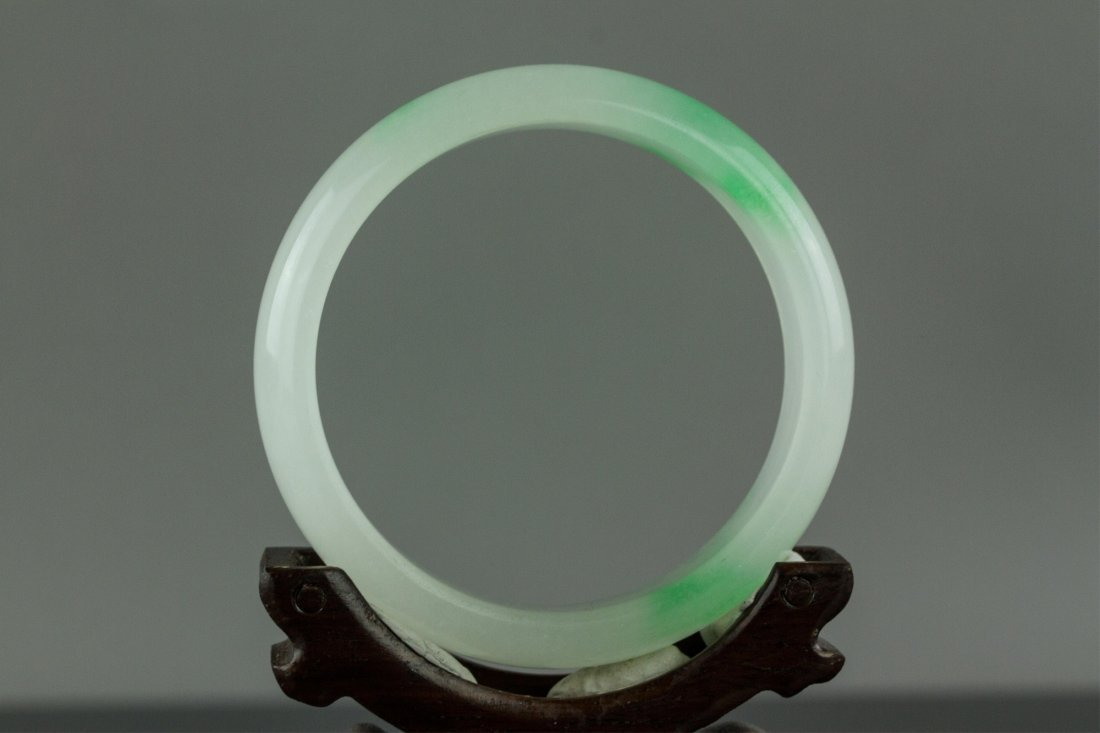 Chinese Hard Stone Green Bangle - 4