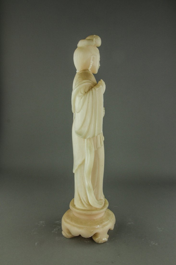 Pair of Chinese White Soapstone Carved Figures - 9
