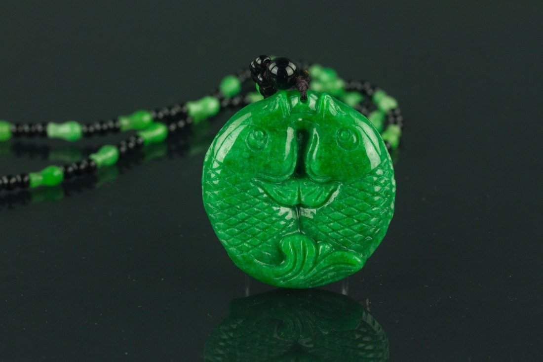 Chinese Green Jade Carved Fish Necklace