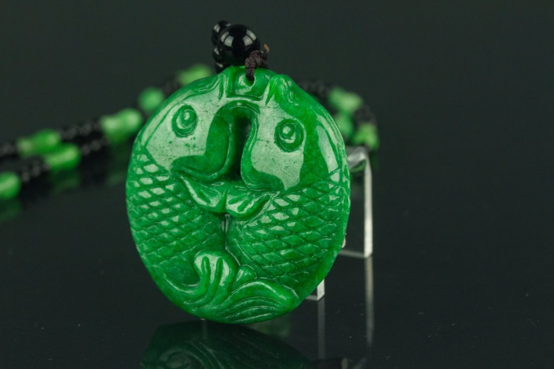 Chinese Green Jade Carved Fish Necklace - 2