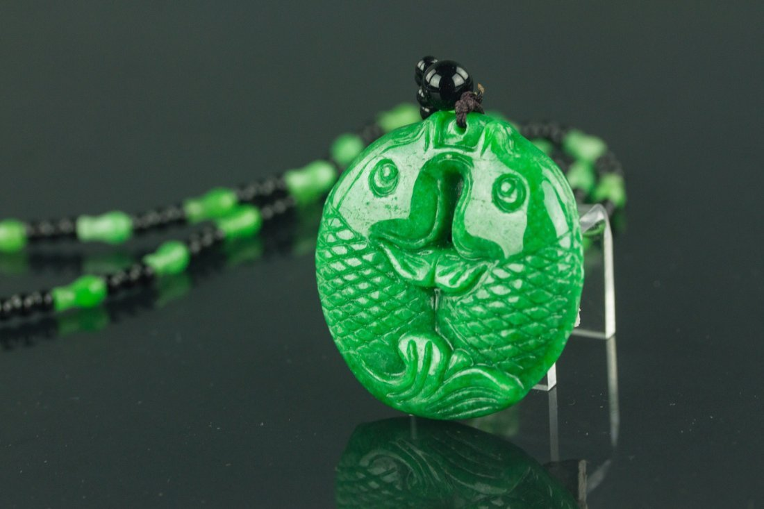 Chinese Green Jade Carved Fish Necklace - 3