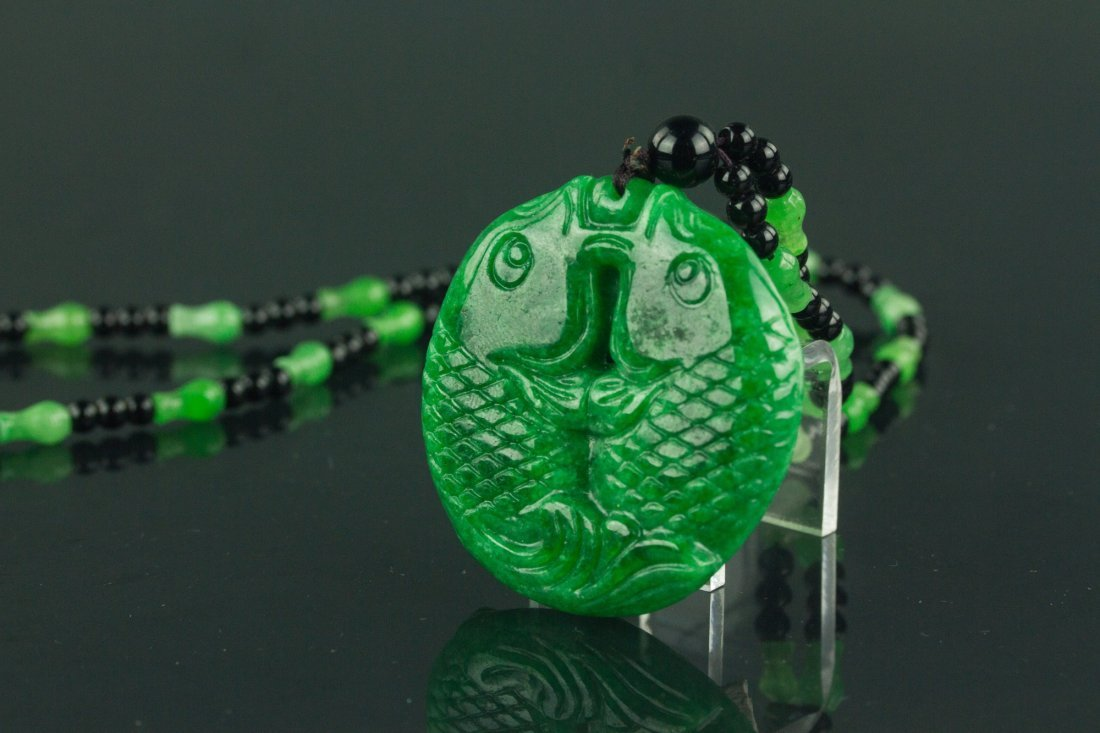 Chinese Green Jade Carved Fish Necklace - 4