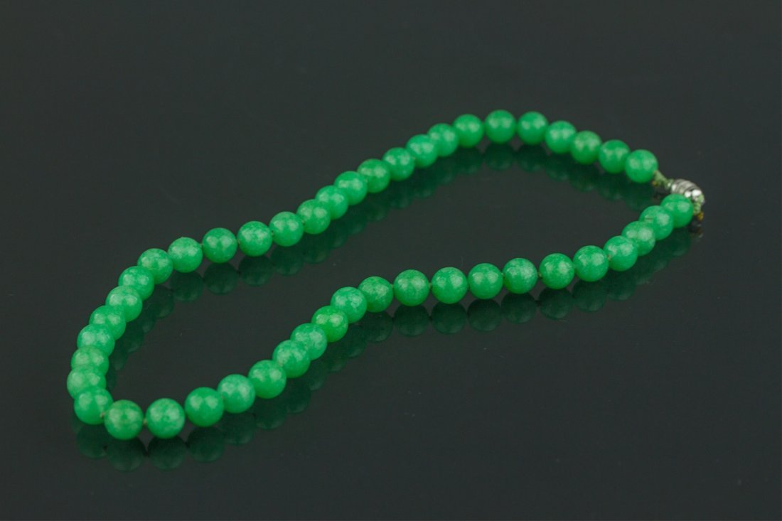 Chinese Apple Green Jade Necklace