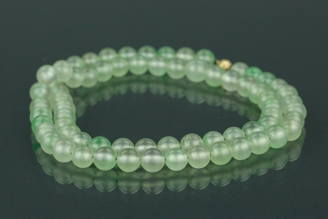 Chinese Apple Green Jadeite Carved Necklace w/ 18K