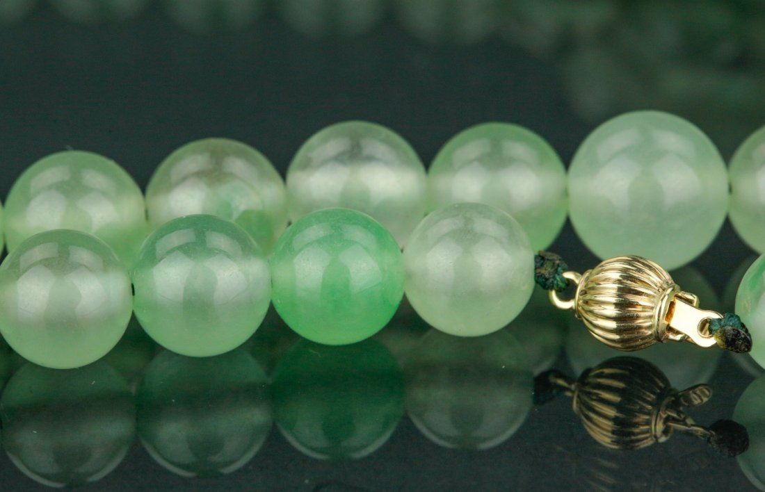 Chinese Apple Green Jadeite Carved Necklace w/ 18K - 3