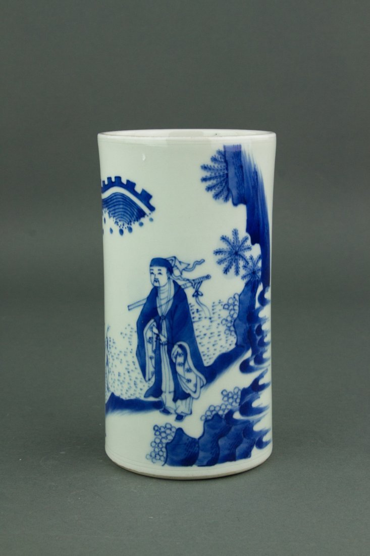 Chinese Qing Period Blue&White Brush Pot