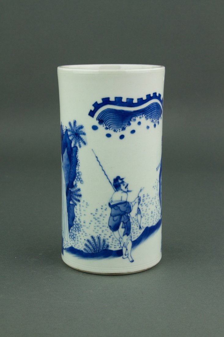 Chinese Qing Period Blue&White Brush Pot - 3