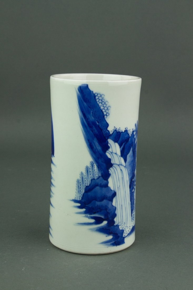 Chinese Qing Period Blue&White Brush Pot - 4