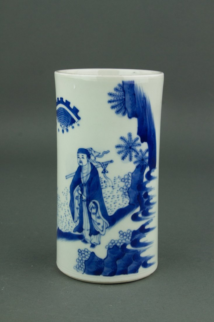 Chinese Qing Period Blue&White Brush Pot - 5