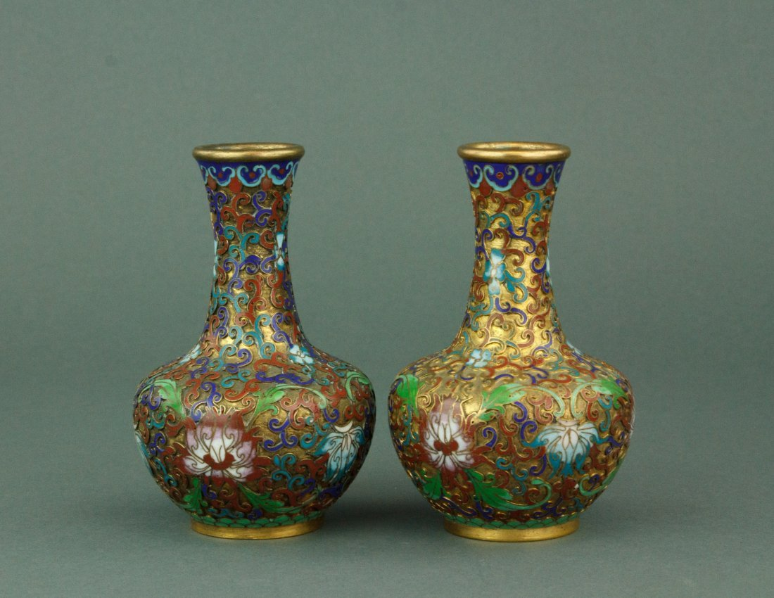 Pair of Chinese Bronze Cloisonne Vases