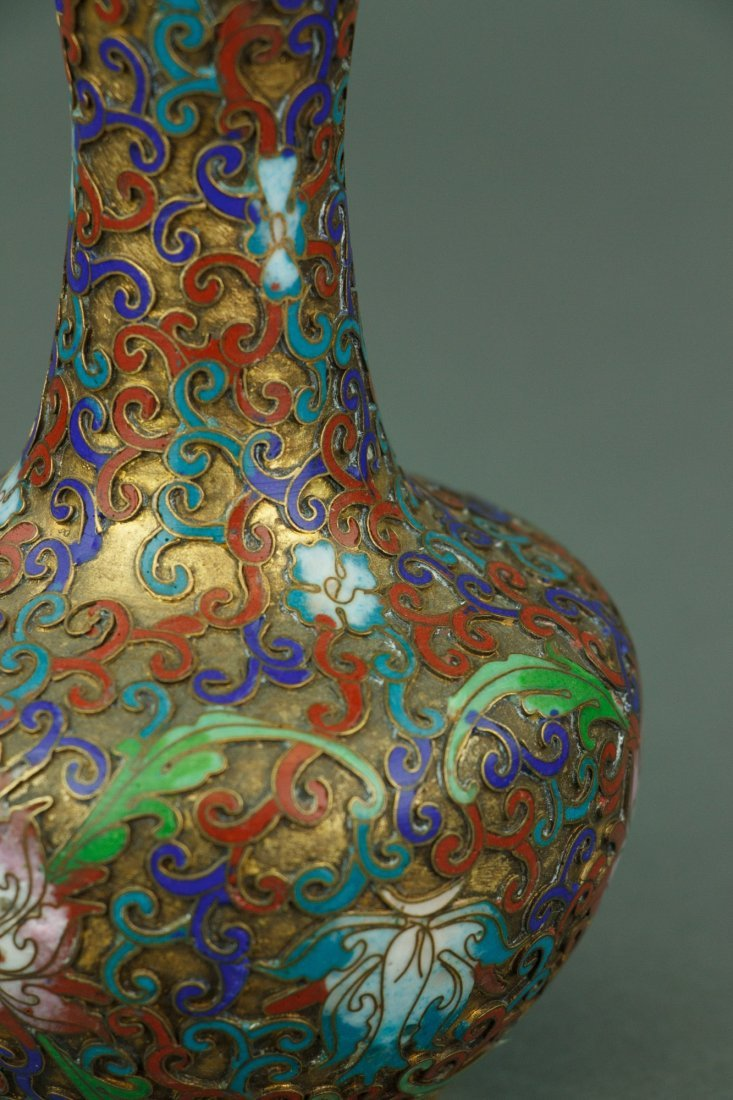 Pair of Chinese Bronze Cloisonne Vases - 4