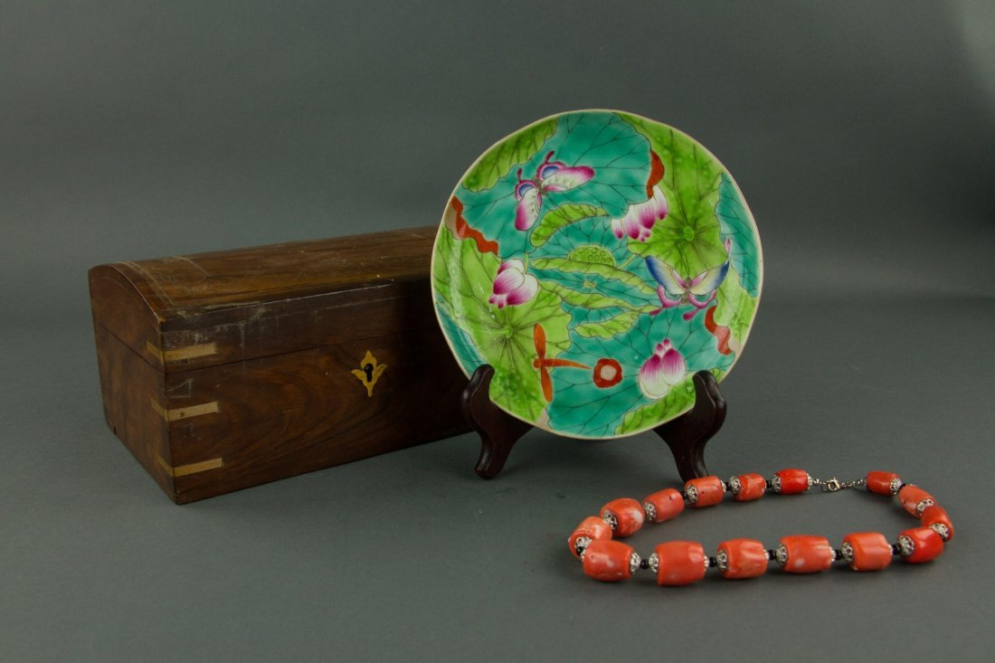 Coral Bracelet Jewellery Box and Porcelain Plate