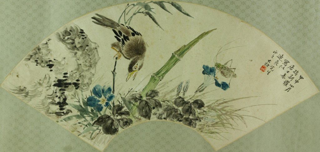 Zhang Dazhuang 1903-1980 Watercolour on Fan Paper