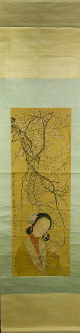 Gai Qi 1774-1829 Watercolour on Silk Scroll - 4