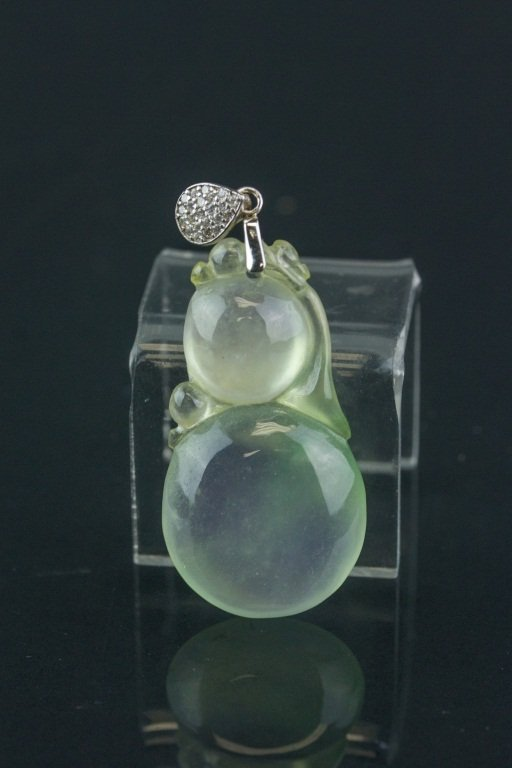 Chinese Green Jadeite Carved Double Gourd Pendant