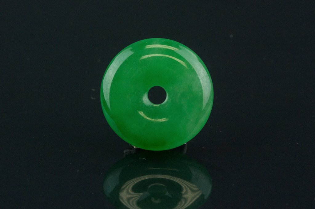 Chinese Green Jadeite Carved Disc Pendant
