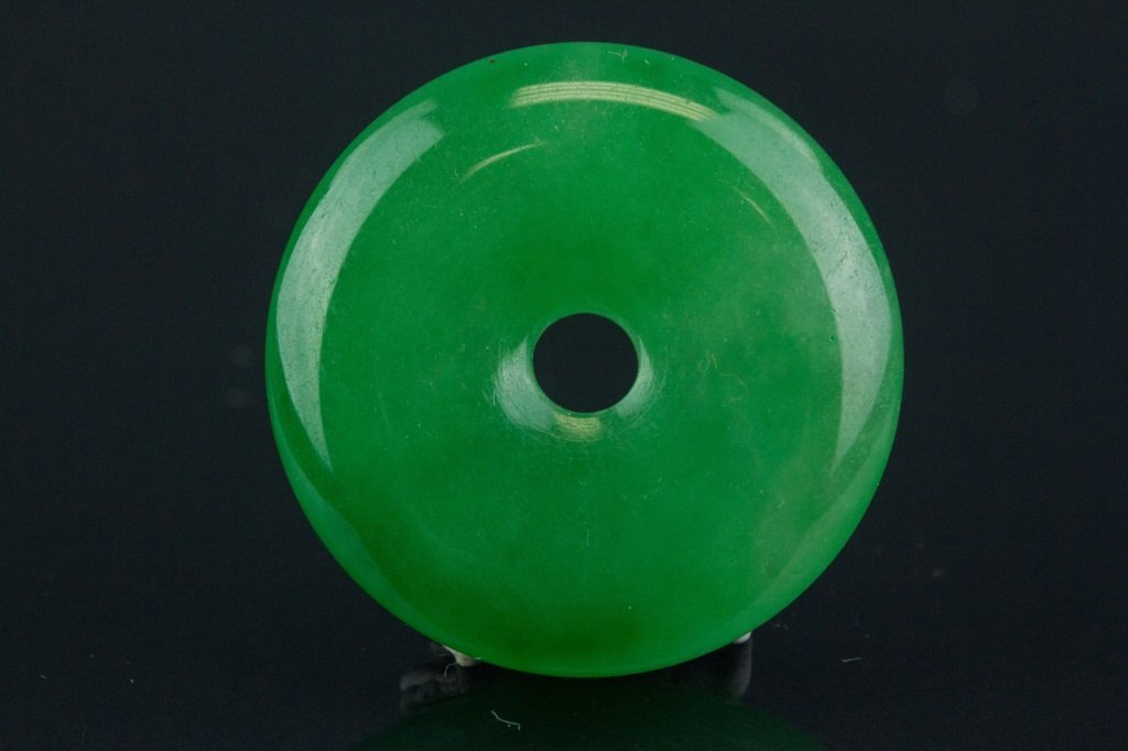 Chinese Green Jadeite Carved Disc Pendant - 3