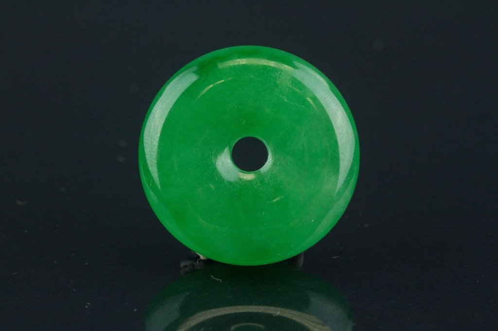 Chinese Green Jadeite Carved Disc Pendant - 4