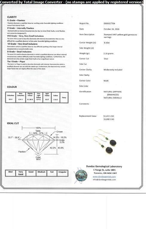 8.50 ct Sapphire & Emerald Earrings CRV$1880 - 4