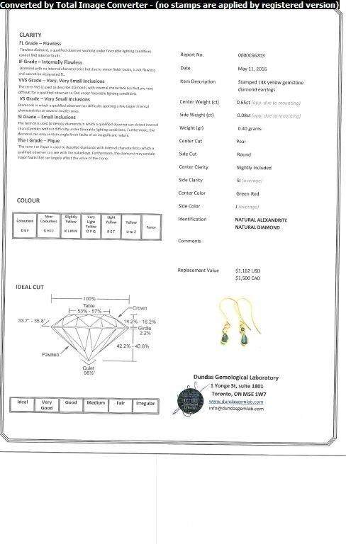 14kt Gold Alexandrite & Diamond Earrings CRV$1500 - 3