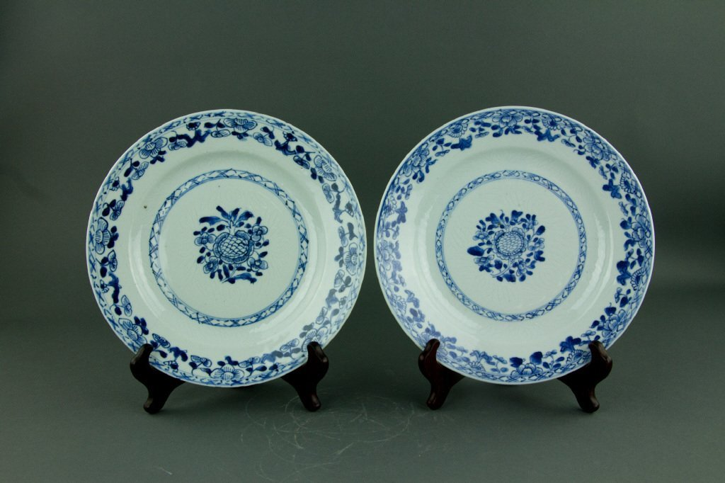 Pair Chinese Export Blue & White Porcelain Dishes