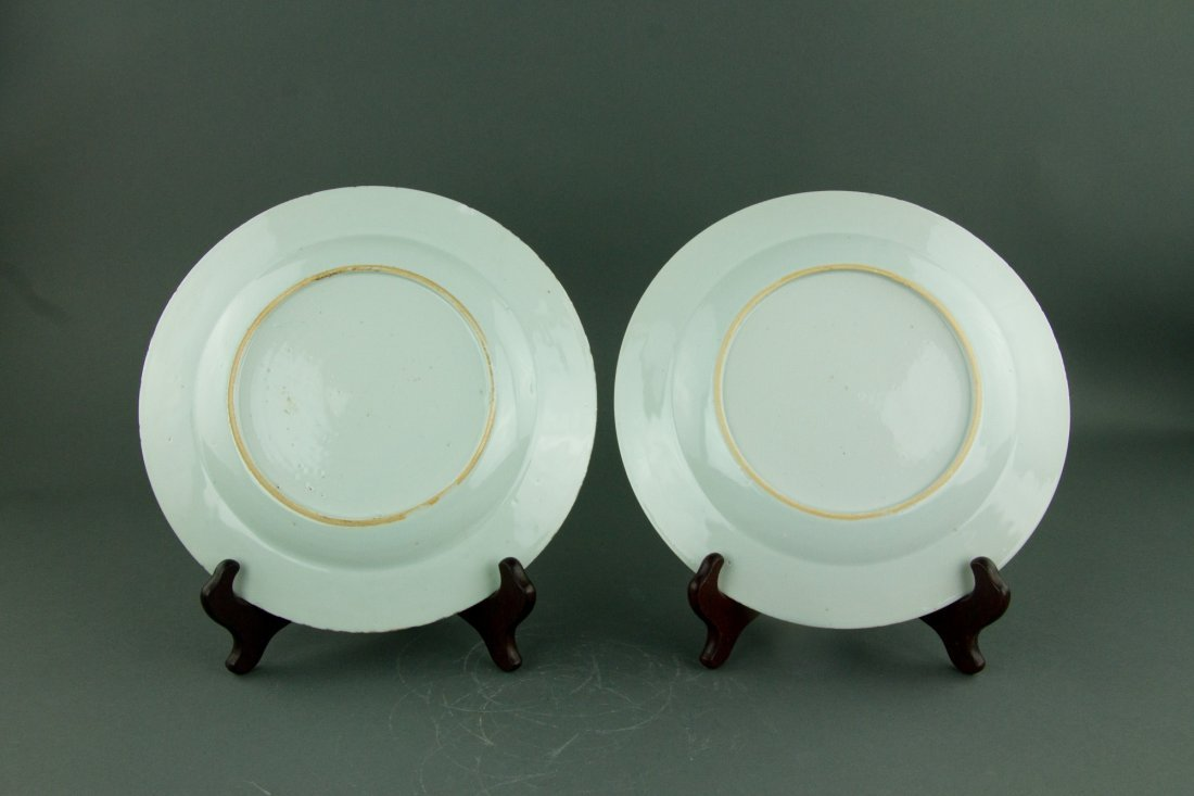 Pair Chinese Export Blue & White Porcelain Dishes - 3
