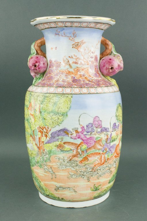 Chinese Export Porcelain Painted Horse Riding Vase