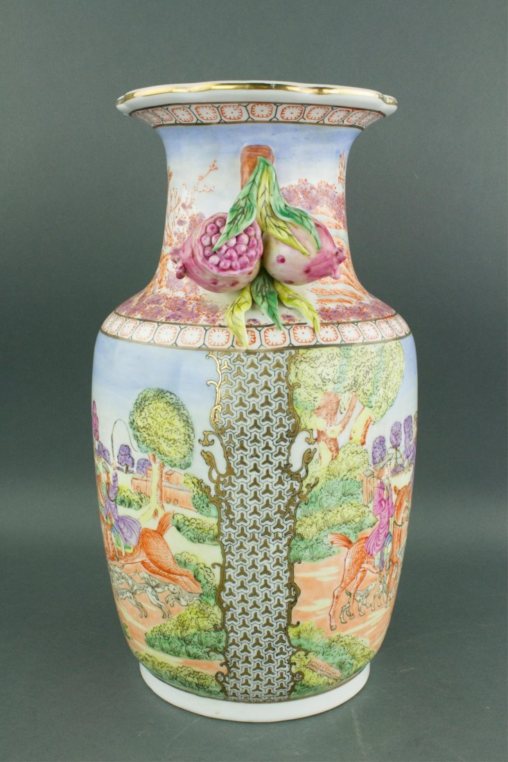 Chinese Export Porcelain Painted Horse Riding Vase - 3
