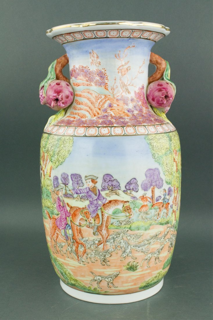 Chinese Export Porcelain Painted Horse Riding Vase - 5