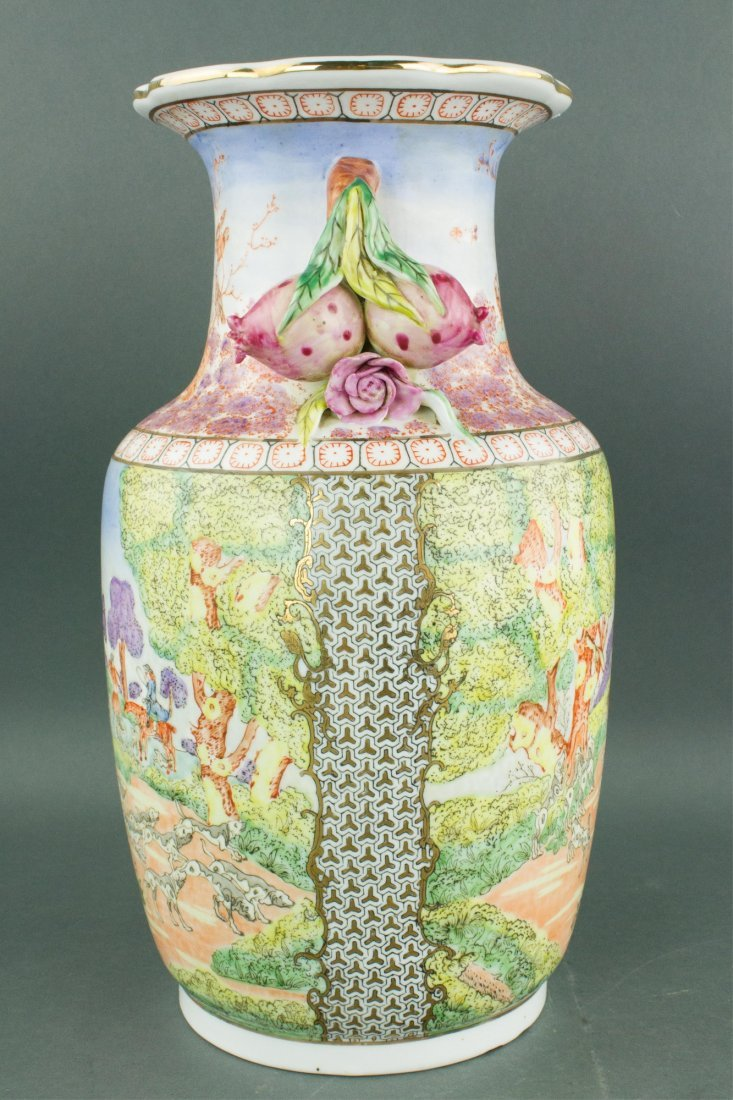 Chinese Export Porcelain Painted Horse Riding Vase - 6
