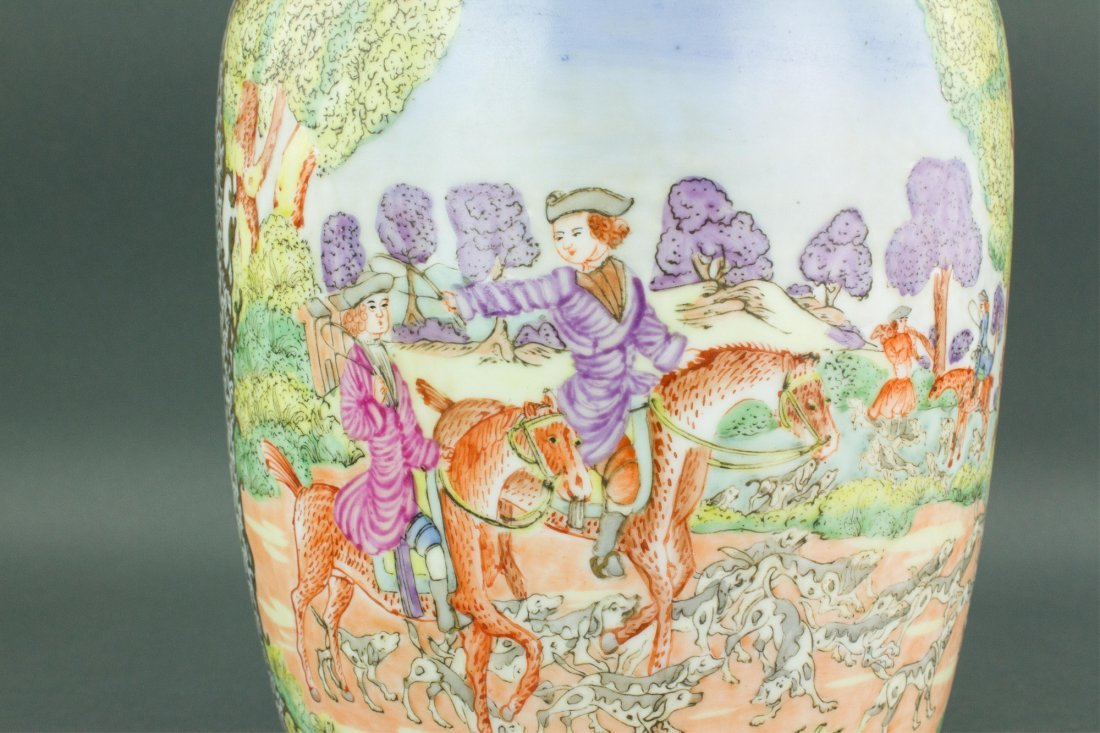 Chinese Export Porcelain Painted Horse Riding Vase - 7