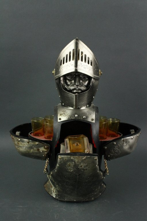 Japanese Silver Knight Figure Cup Holder
